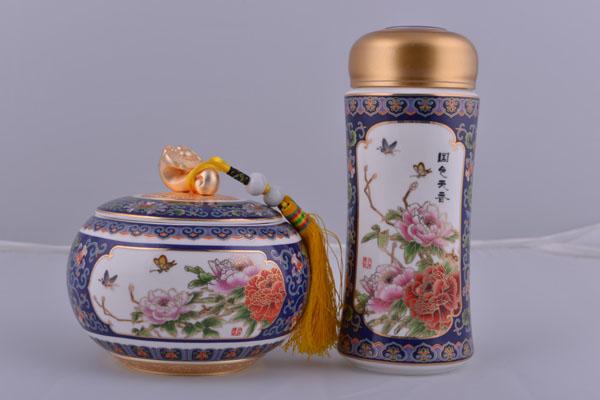 国色天香保温杯+如意茶叶罐