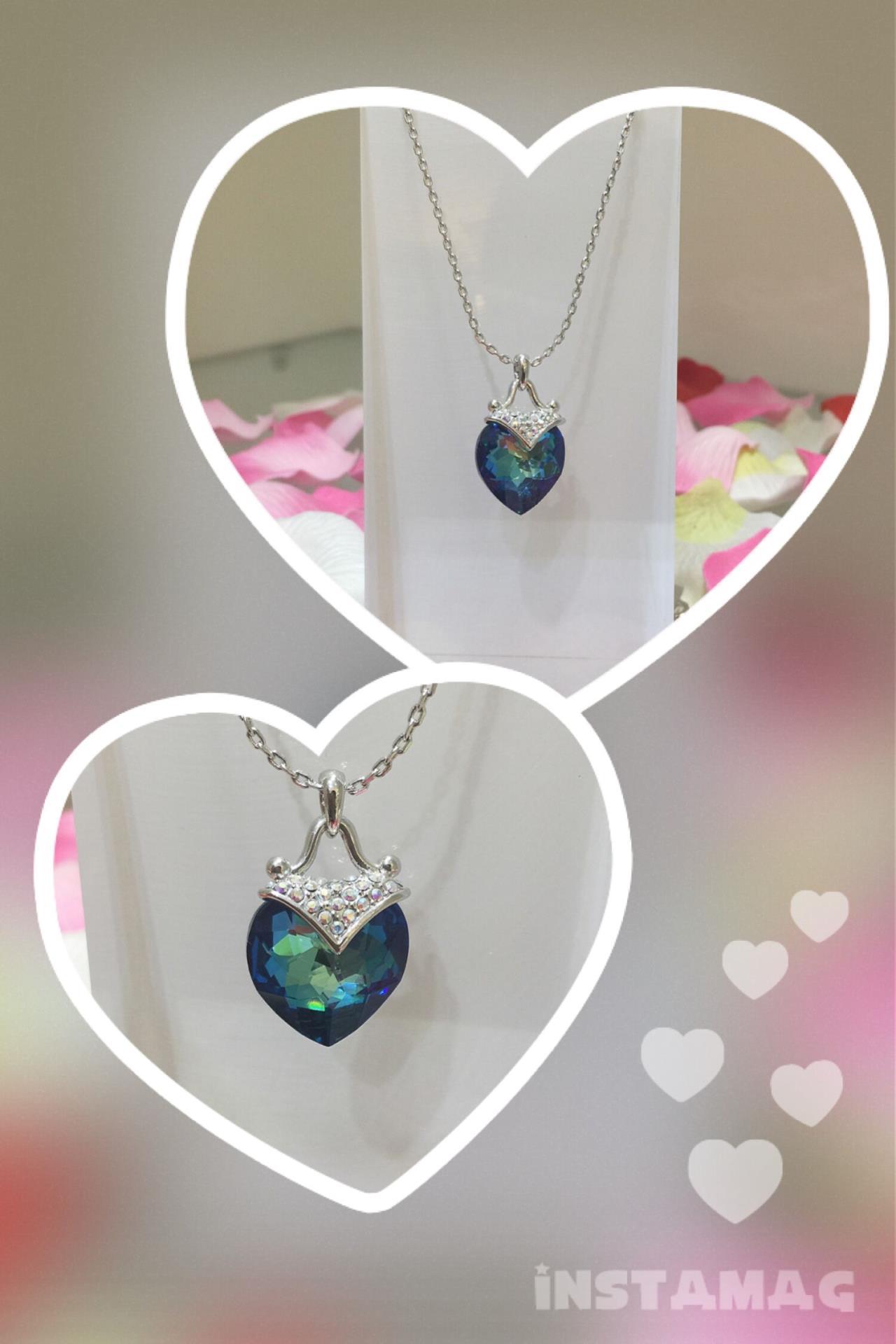 七彩蓝心形项链